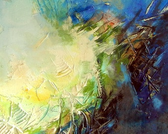 "Original Large Size Acrylic Abstract Painting, Lights in Blue, 55.1""x39.4"", Green, yellow, Orange"