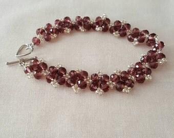 Womens bracelet purple and clear swarovski crystals