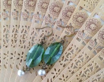 Green glass and pearl drop earrings