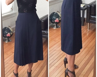 Vintage Midi Skirt | Navy Blue | Pleat Detail