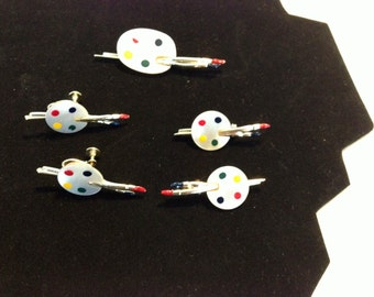 Vintage Painter's Palette Jewelry Pins and Earrings Set