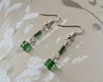 Handmade Delicate Green Drop Earrings