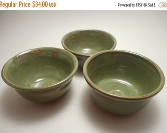 ON SALE Green Nesting Ceramic Bowls (set of 3), Handmade Pottery, Hand Painted, Hand Thrown