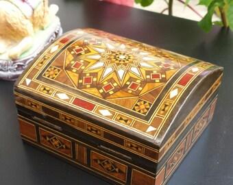 Jewelry Box / Marquetry Wooden Box / Multi purpose storage Box / Wood Inlay Art