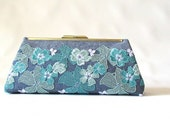 Teal Lace Clutch, Linen Clutch, Bridesmaid Clutch Bag, Bridesmaid Gift, Evening Bag, Lace Clutch purse, cotton denim clutch, frame purse