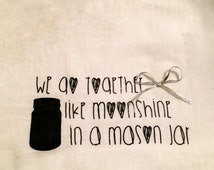 Mason Jar Tea Towel, Kitchen Towel, Flour Sack Towel, Mason Jar Decor, Kitchen Decor, Rustic Kitchen Decor