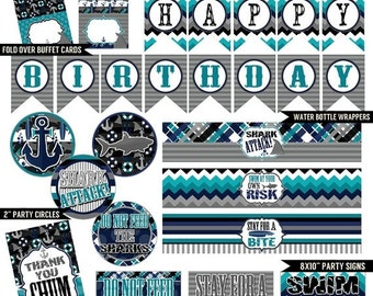 40% OFF Shark Attack Digital Printable Boys Ocean Under The Sea Birthday Party Printables Package INSTANT DOWNLOAD