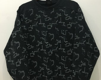Vintage 90's Vans Abstract Design Skate Sweat Shirt Sweater Varsity Jacket Size M #A13