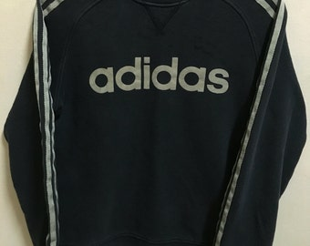 Vintage 90's Adidas Black 3 Stripes Sport Classic Design Skate Sweat Shirt Sweater Varsity Jacket Size M #A243