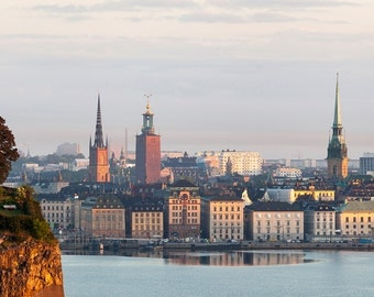 Morning view over central Stockholm city