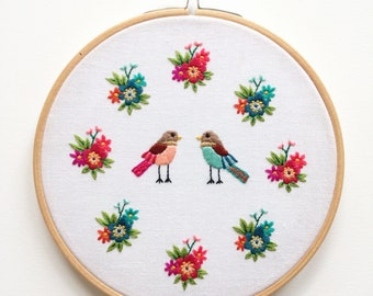 Hand Embroidered Framed Hoop 'Floral Boy and Girl'