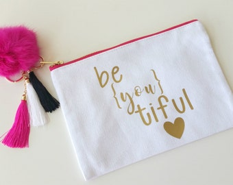 BeYOUtiful Canvas Makeup Bag with Pom Pom and Tassel Key Ring