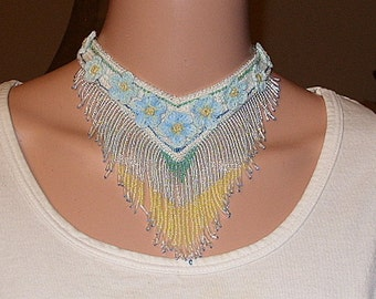 large beaded and floral necklace