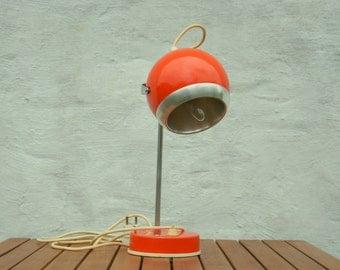 Mid century eyeball lamp / atomic desk lamp / 70's / orange
