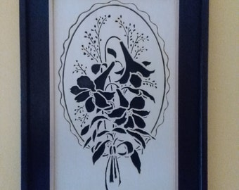 Image of lily flower. Painting, fretwork, wood, portrait.