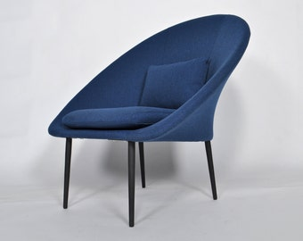 Mid Century Modern Blue Lounge Chair with removable cushion
