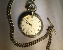 1906 Silver Pocket Watch (Fully Serviced) & 1886 Silver Watch Chain