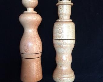 Handcrafted Unique Shape Pair of Salt & Pepper Mills Grinders 250mm