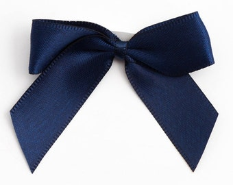 Self Adhesive Satin Ribbon Pre Tied 5cm Bows - 12 Pack - Navy Blue