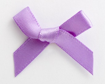Satin Ribbon Pre Tied 3cm Bows - 100 Pack - Lilac