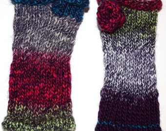 Pink and Blue Variegated Hand Warmers