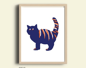 cat wall art illustration cat print cat art pet print pet art