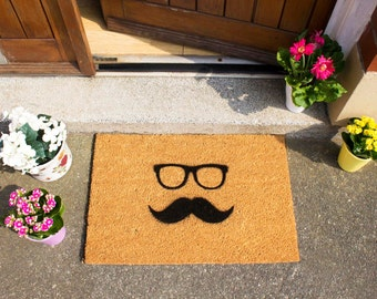 Quirky moustache doormat - 60x40cm