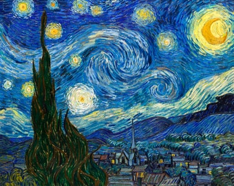 Vincent van Gogh 1889, Starry Night, HD Canvas Print or Art Print, Artwork Wall Poster Impressionism Print on Canvas Van Gogh Stary Stars
