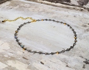 SALE! Gray and Gold Rosary Choker Necklace
