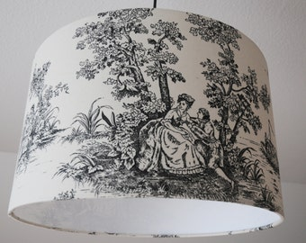 "Ceiling Lampshade ""Toile de Jouy"" (black)"