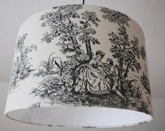 """Ceiling lamp """"toile de Jouy"""" (black)"""