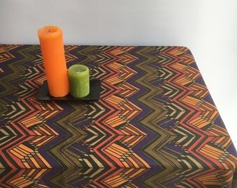 Vintage Inspired Tablecloth, Retro Linen Table Cloth, Autumn Tablecloth  1960s Geometric Scandinavian Tablecloth Rectangle