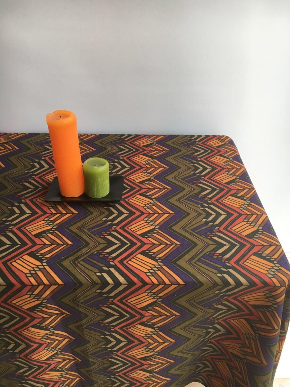Vintage Inspired Tablecloth, Retro Linen Table Cloth, Autumn Tablecloth  1960s Geometric Scandinavian Tablecloth Rectangle Tablecloth Square
