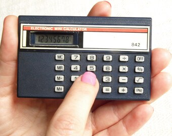 Vintage calculator 80s Mathematics Math teacher gift 8 digits mini calculator