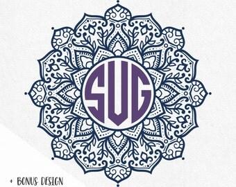 Mandala Svg Circle Monogram Frame Cutting File Svg Dxf Png Jpg Monogram Font Letters Included Monogram Mandala Svg  flower monogram svg