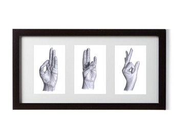 Yoga Mudra Triple Framed Print