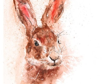 Fine Art Print of My Original Hare Head Watercolour Painting Signed A3 A4 New Giclee High Quality Vibrant Impressionist Wildlife Animal