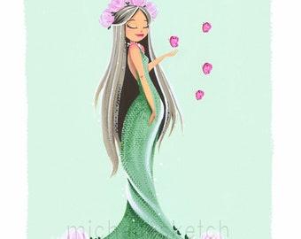 Lady Spring on Green Fine Art Print
