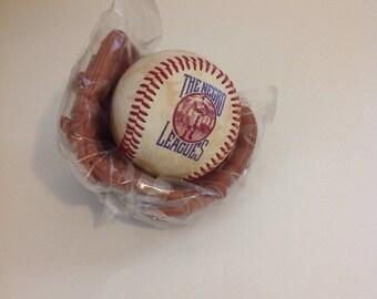 1995 Collectable Negro League Commemorative Miniture Photo Ball and Glove, African American Sports Memorabilia