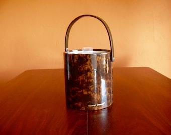 Morgan Bucket Brigade Ice Bucket, Vinyl Brown Faux Tortoise Shell, Vintage Hollywood Regency Barware