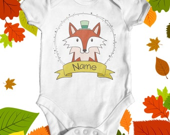 Personalised fox baby bodysuit | baby shower gift | cute baby clothes | custom baby bodysuit | animal baby bodysuit | newborn baby clothes