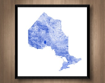 Waterways of Ontario map art | Printable Ontario map print, Ontario print, Ontario poster, Ontario art, Wall art, Ontario gift, Canada map