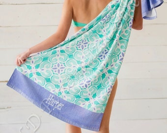 Sea Tile Beach Towel (Monogrammed or Blank)