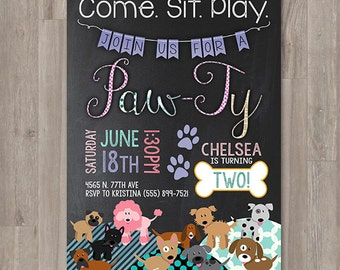 Girl Puppy Birthday Invitations Printable Dog Invitations Custom Personalized Bday Invite Chalk Girly Puppy Party Doggie Birthday Paw-Ty