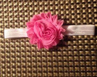 Newborn Pink Shabby Flower Headband