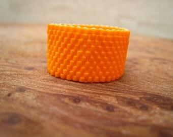 Bright Orange Beaded Band Ring, Hand-stitched
