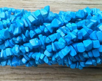 36 Inch Strand Turquoise Dyed Howlite Gemstone Chip Beads 5-8mm
