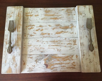 Rustic Serving Tray, Shabby Chic Serving Tray, Serving Tray, Distressed White