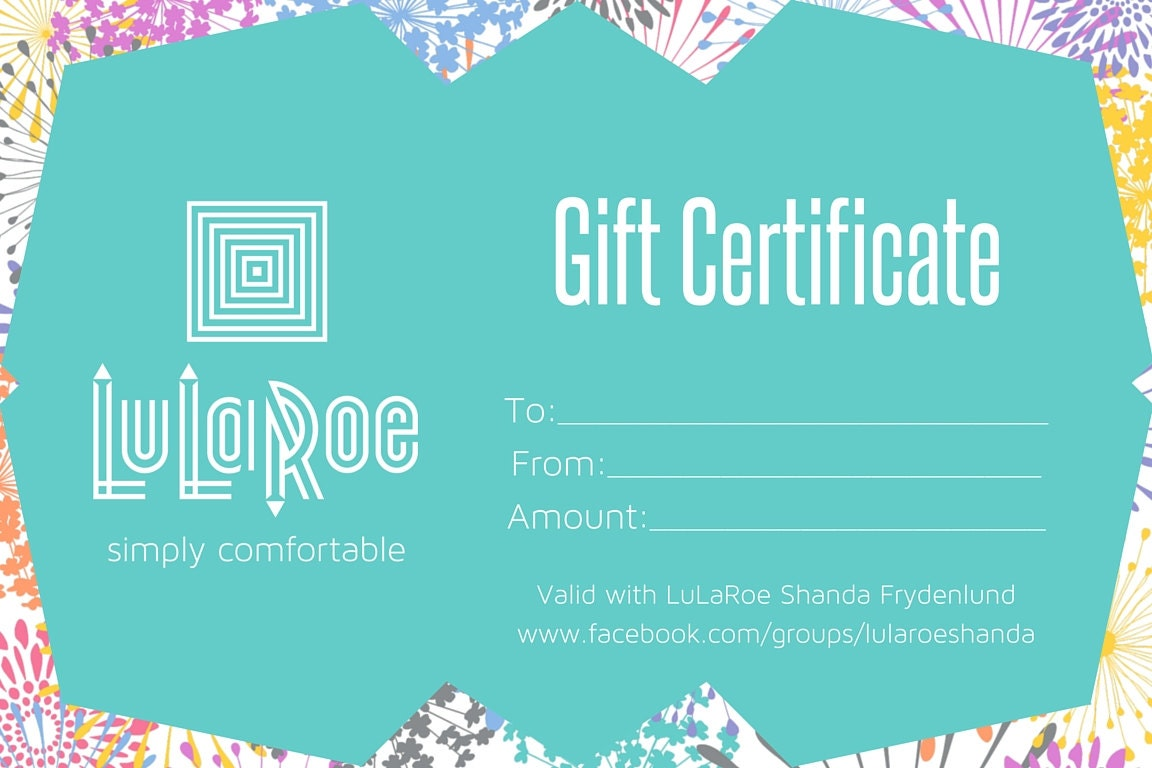 personalized lularoe gift certificate 4x6 by