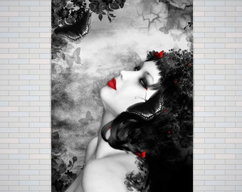 Gothic Rose, Goth Female Art | A2 or A3 Poster Check below for sizes, Gothic butterfly goddess (No Frame)